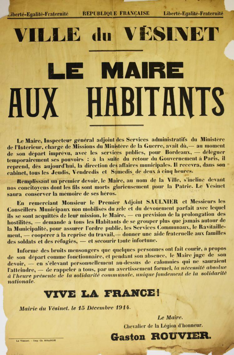 Exposition « Le Vésinet et la Grande Guerre»